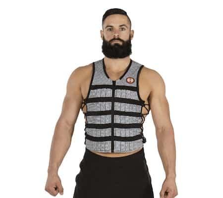 Bearded man wearing hypervest slim weight vest