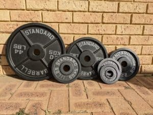 Rogue Olympic Weight plates lined up against a wall