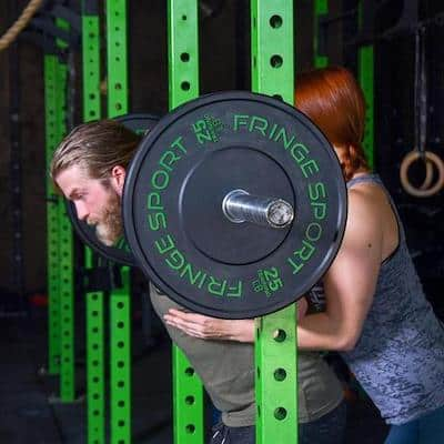 Fringe Sport's contrast bumper plates are also exceptional options for crossfit bumper plates