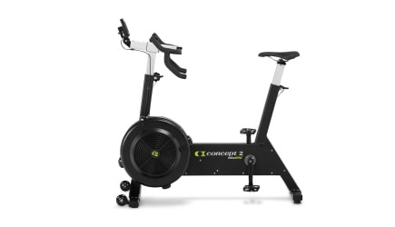 Black concept2 bikeerg upright exercise bike facing to the left