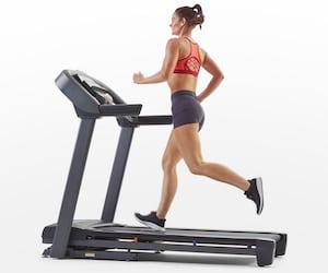 Woman running on horizon t101 best treadmill