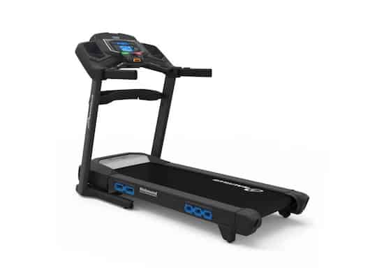 Black and blue treadmill from nautilus