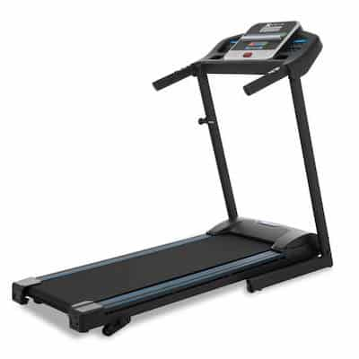 Angled view of great budget TR150 treadmill from xtrerra fitness