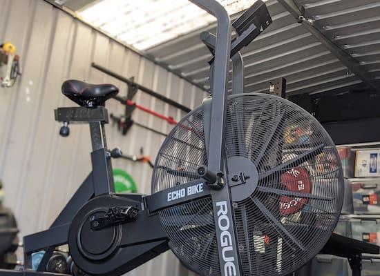 Rogue Echo Bike in a small garage gym