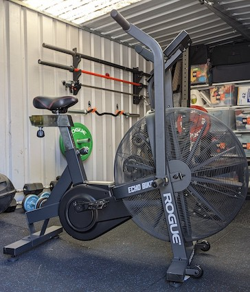 Rogue Echo Bike in garage gym