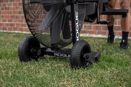 Rogue Echo Bike turf tire and handle kit accessory being used on lawn