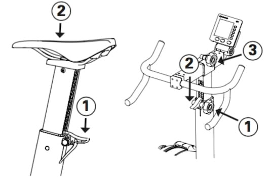 diagram showing how the concept2 bikeerg saddle and handlebars can be adjusted