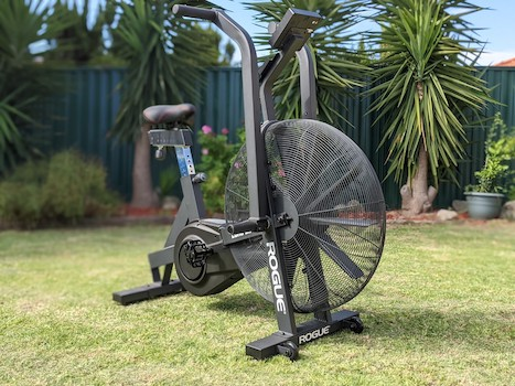 Black Rogue Echo Bike on grass in backyard