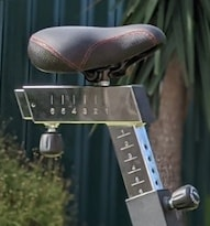 Rogue Echo bike seat which can be adjusted fore and aft
