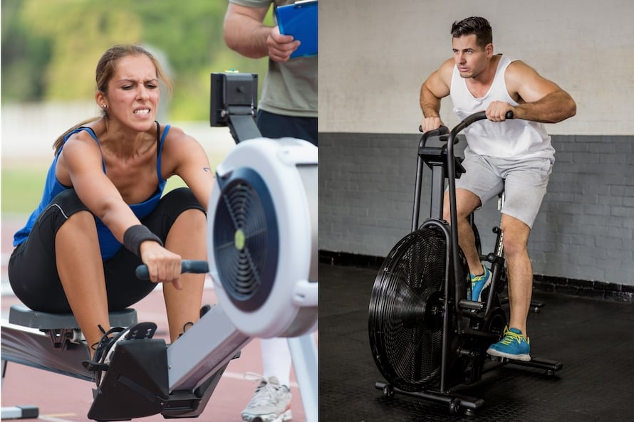 Woman on a rower facing off against a man on an air bike: Air bike vs rower