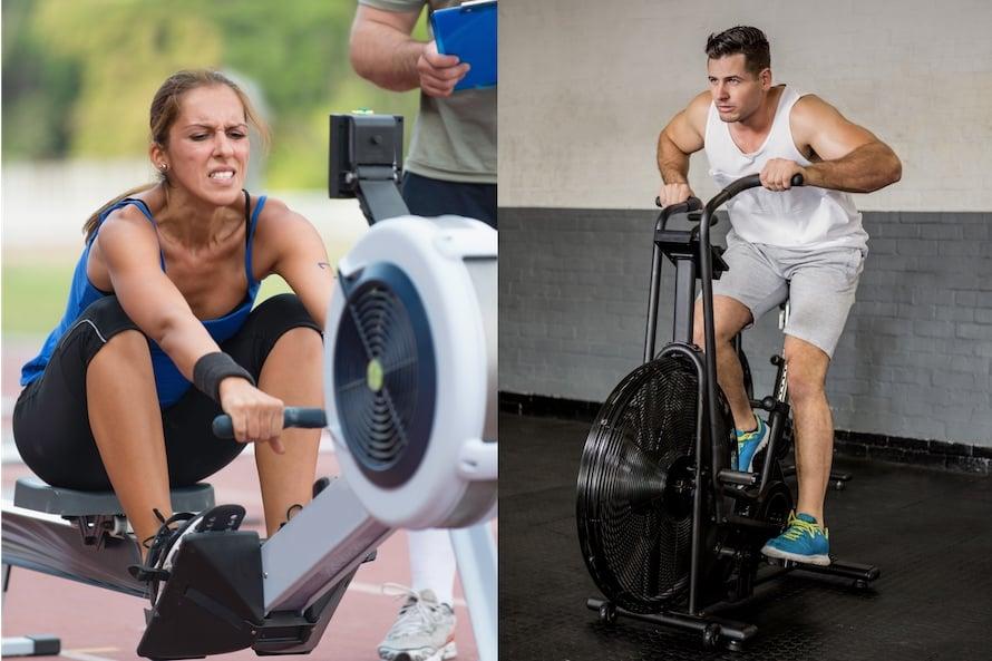 Woman on a rower facing off against a man on an air bike: Air bike vs rower