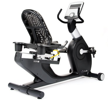 black and silver recumbent bike as an example