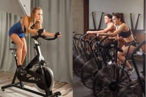 woman on spin bike vs air bike riders