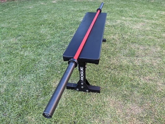 Red and black rogue ohio cerakote barbell for crossfit sitting on lawn