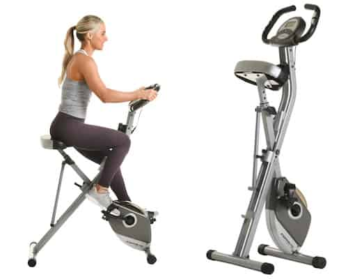 woman on exerpeutic's folding magnetic exercise bike plus image of the bike folded