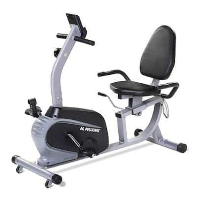 Black and silver cheap recumbent bike for under 300 from Maxkare