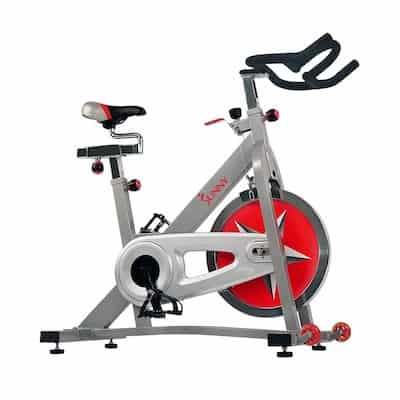 Sunny health and fitness' red and sliver indoor cycling bike