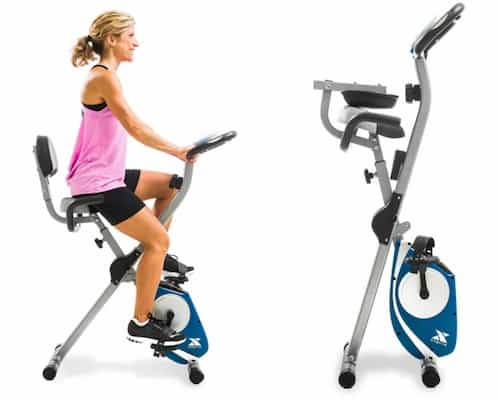 Woman on xterra fitness fb350 folding bike plus image of bike folded up