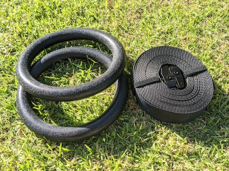 Garage fit plastic gymnastic rings on grass