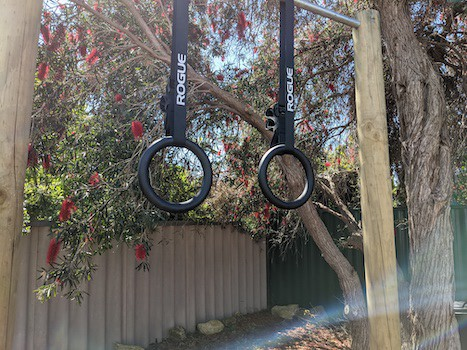 Pair of metal gymnastic rings hanging from pull-up bar