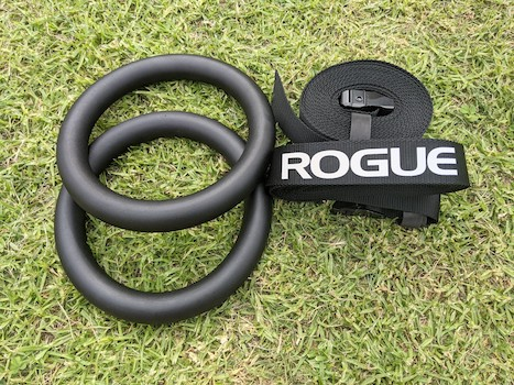 Black rogue metal rings on grass with black