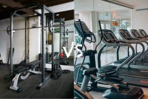 Image of a home gym next to a public gym suggesting a trade off of working out at home vs gym