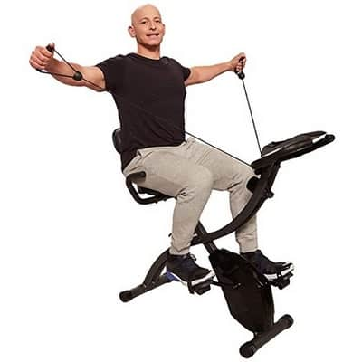 Man on bulbhead slim cycle indoor exercise bike