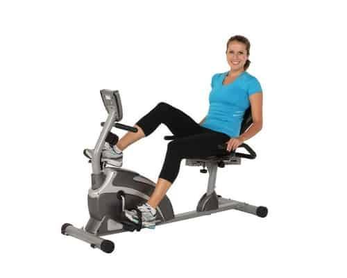 Woman on exerpeutic 900xl recumbent exercise bike