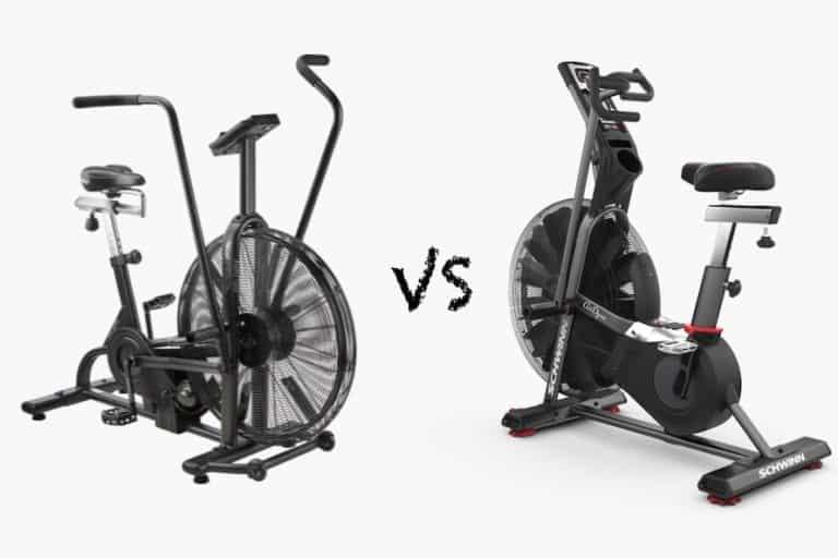 Assault bike vs airdyne against a gray background